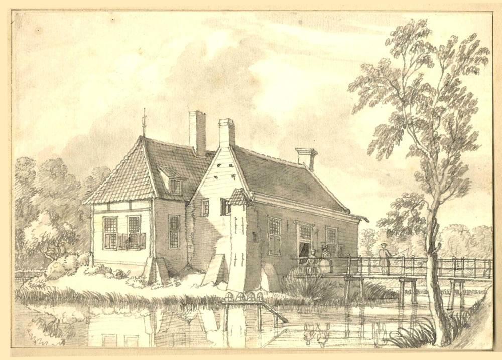 Huis De Lichtenberg in Wisch. Tekening Jan de Beijer, 1742